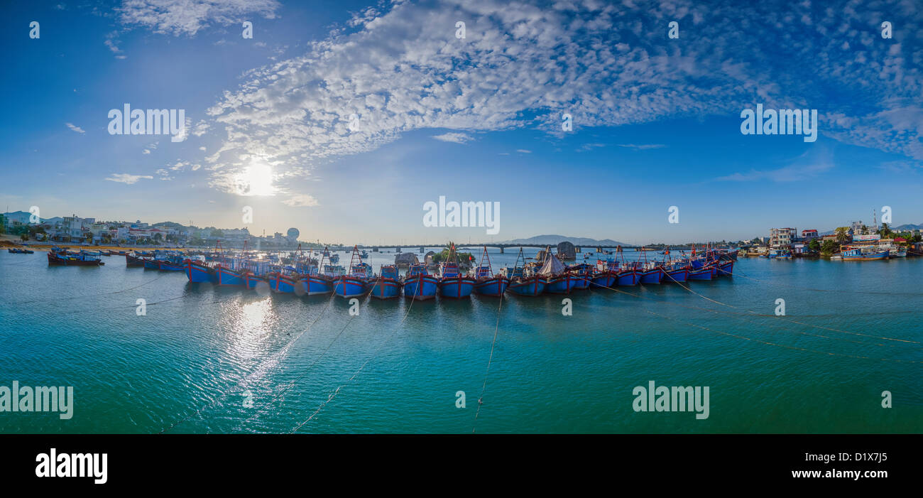 Fishing Boats in Nha Trang Harbor, Vietnam - Stock Image