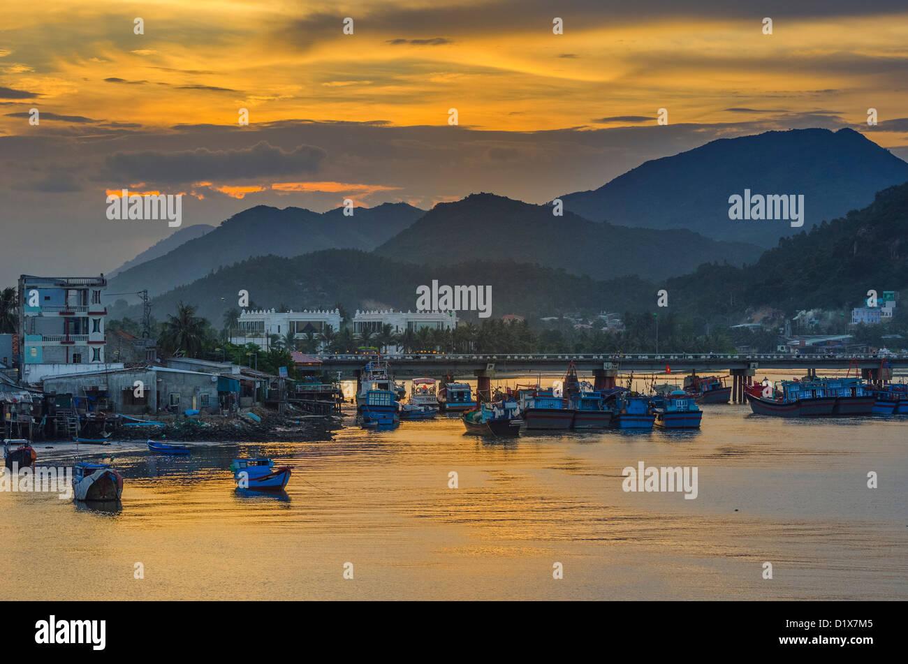 Fishing Boats in Nha Trang Harbor, Vietnam Stock Photo
