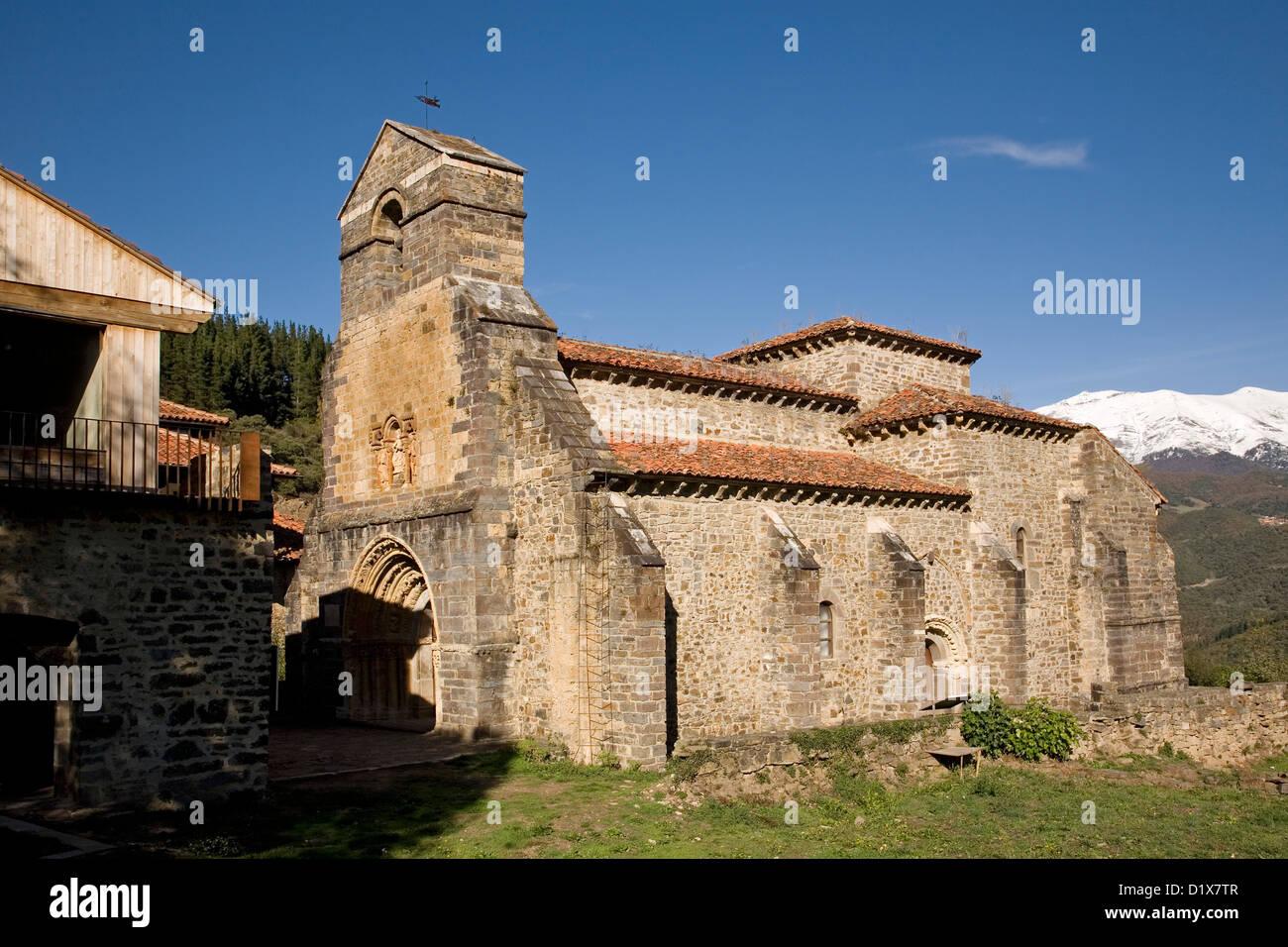 Romanesque church Santa María la Real de Piasca Liébana Picos de Europa Cantabria Spain - Stock Image