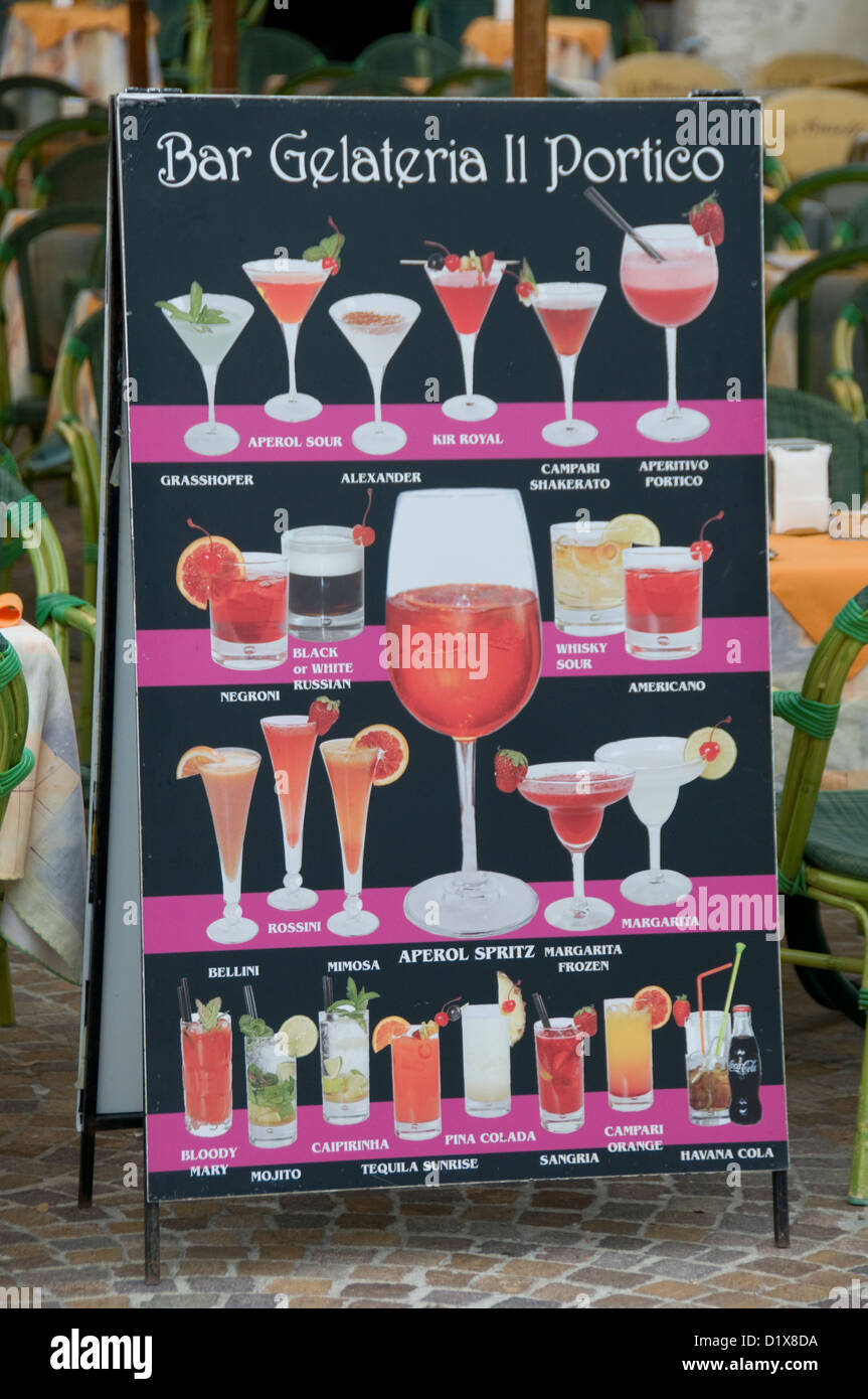 A selection of Italian drinks being offered at many restaurants and bistros on Lake Garda,Italy - Stock Image