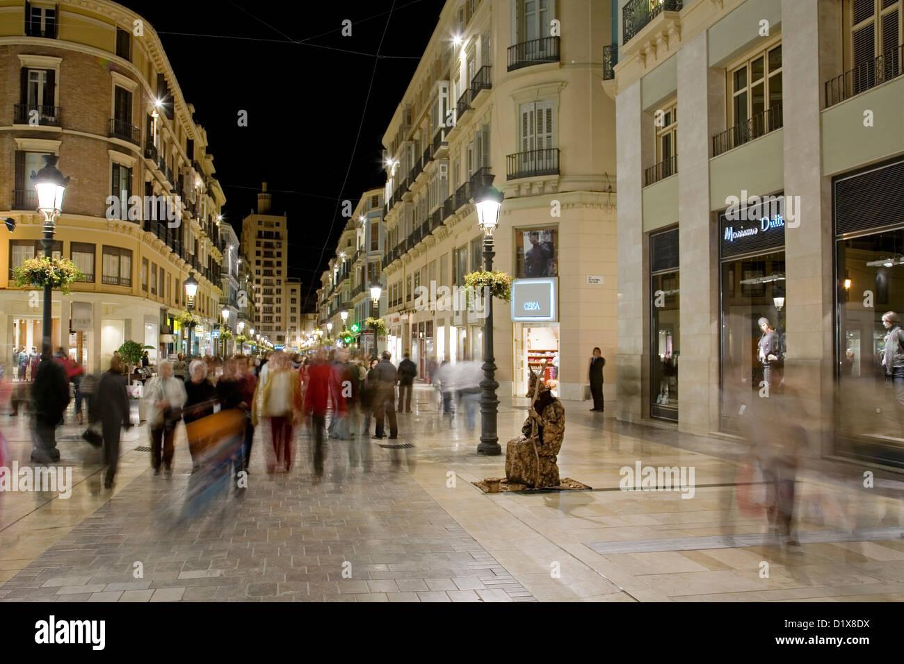 Commercial Area Calle Larios Malaga Andalusia Spain - Stock Image