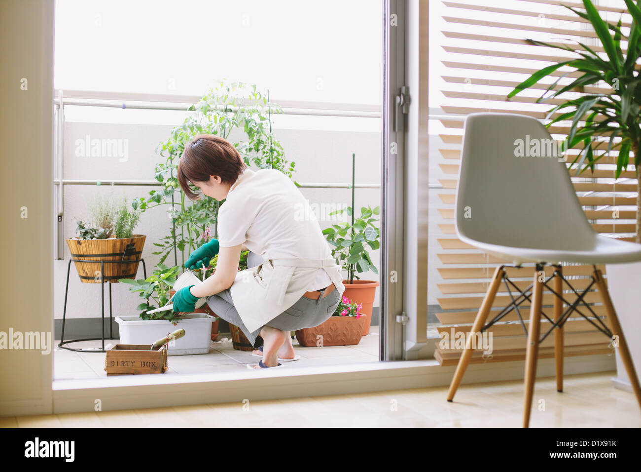 Mid adult woman gardening on the balcony - Stock Image