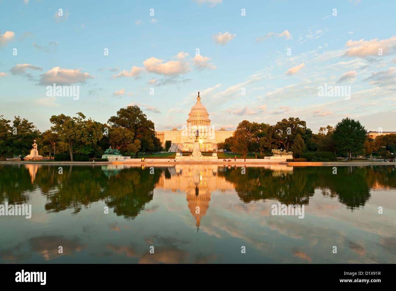 U.S. Capitol Building and Capitol Reflecting Pool, Washington, DC USA - Stock Image