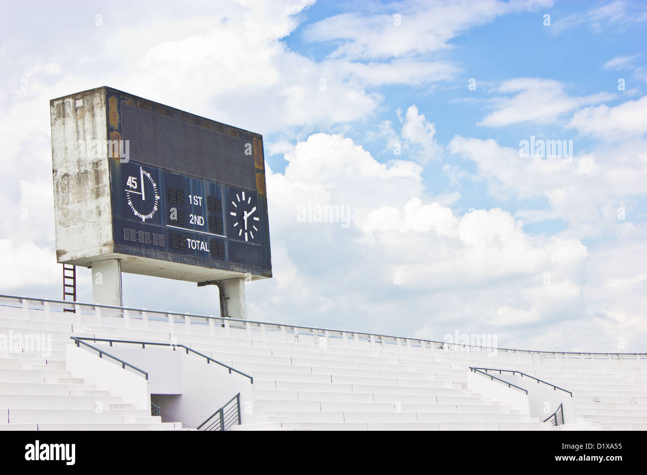 Old scoreboard and bleacher. - Stock Image