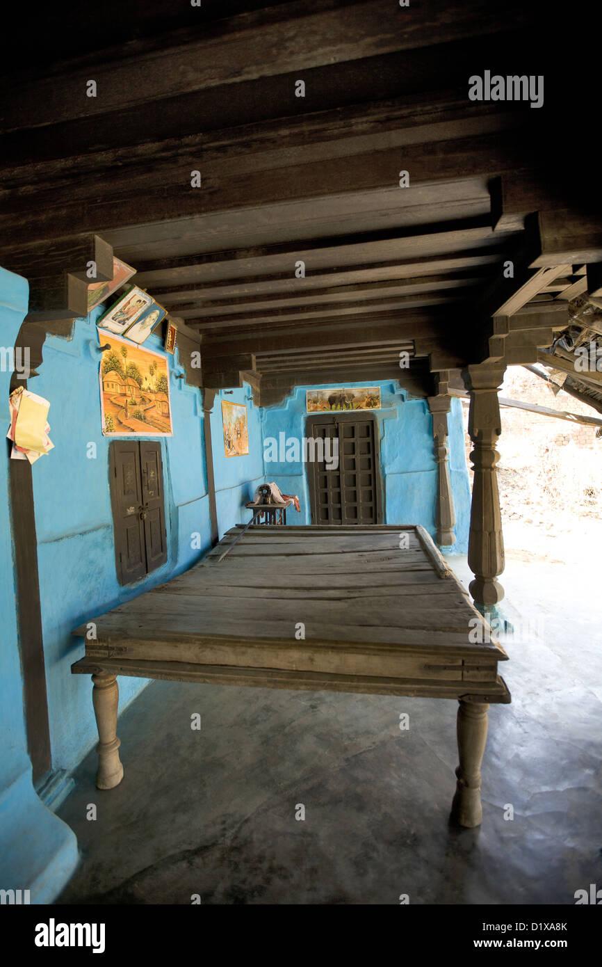 Sitting arrangement, a big cot, Gond tribe, Gadchiroli, Maharashtra, India. - Stock Image