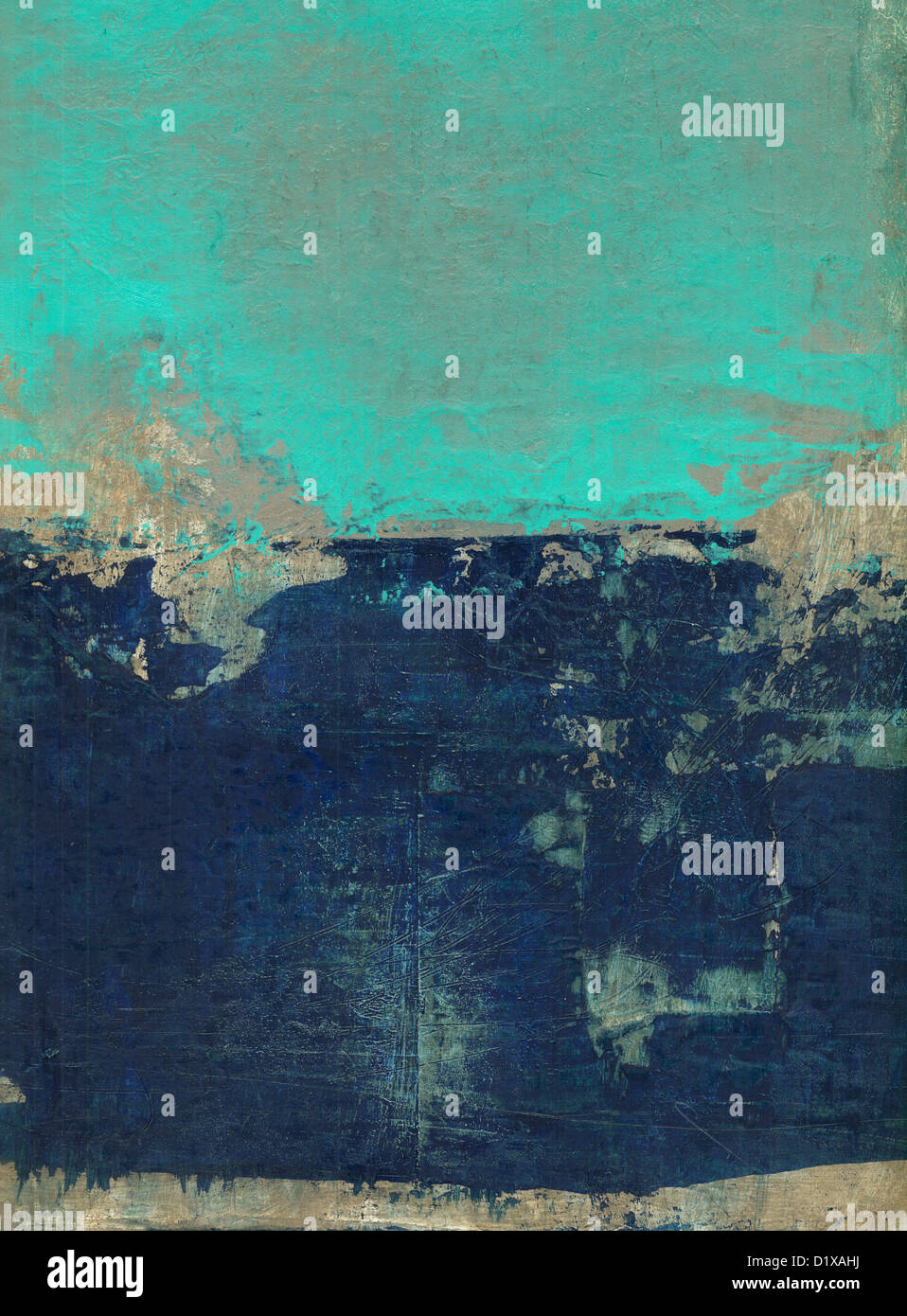 Abstract painting with blue, turquoise and brown tones. - Stock Image