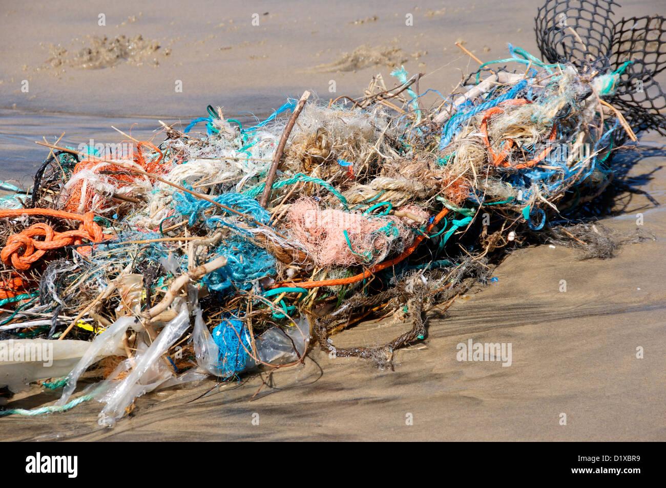 Flotsam washed up on a french beach - Stock Image
