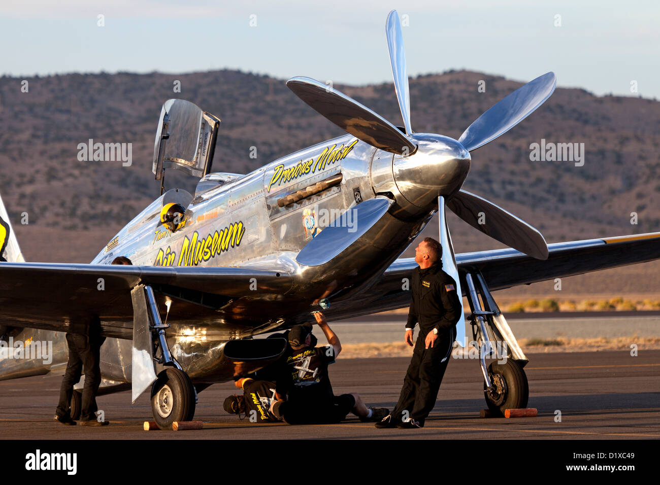 The Precious Metal crew tend to the P-51 Mustang Unlimited Air Racer during the 2012 Reno National Championship - Stock Image