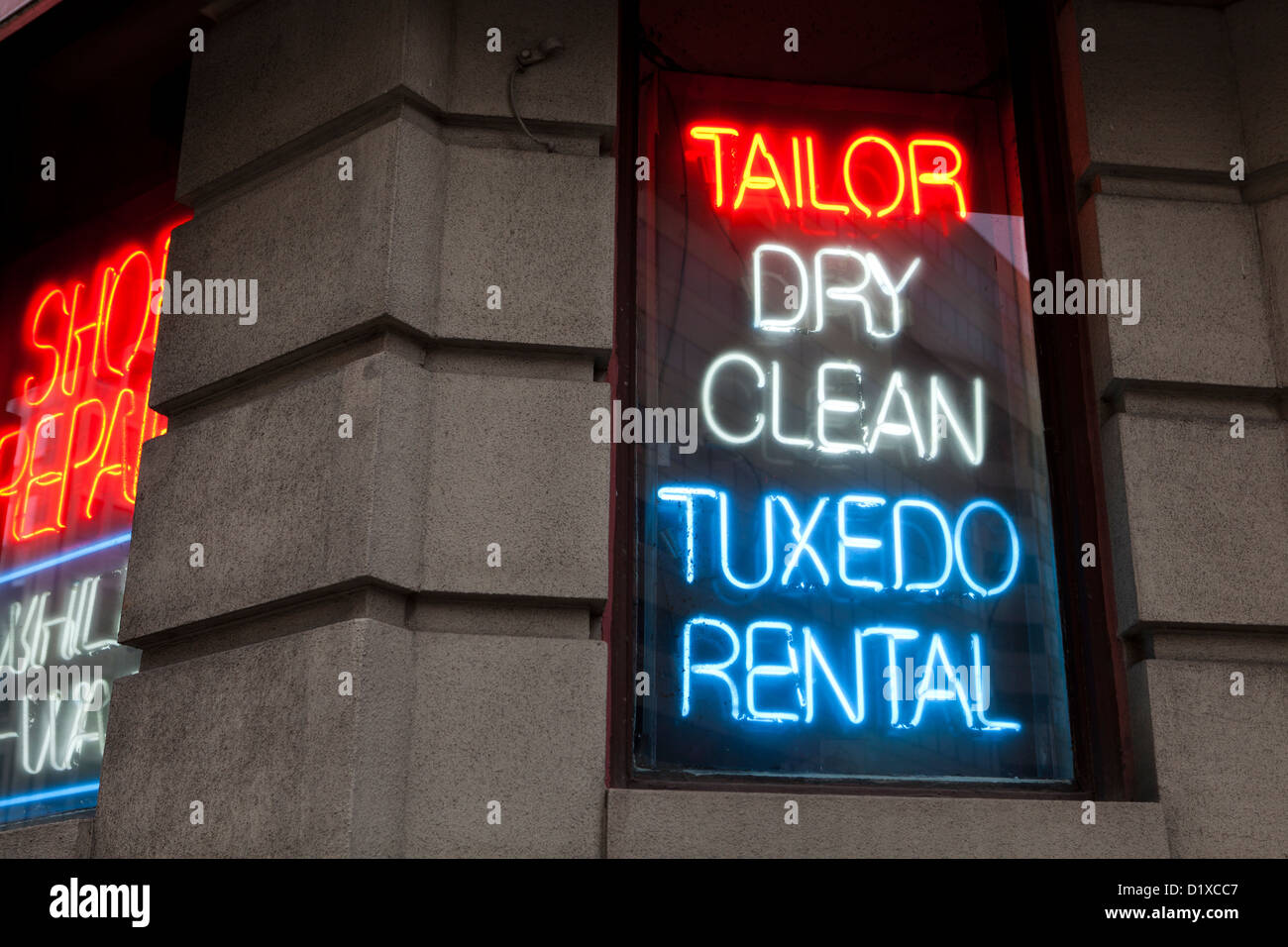 Tailor neon sign - Stock Image