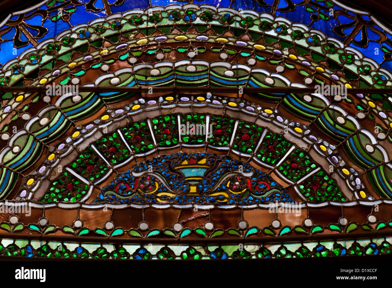 Detailed stained glass work - Stock Image