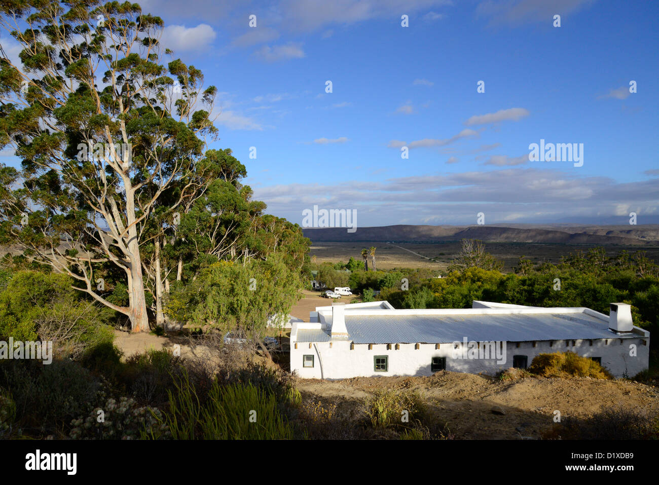 Warmwaterberg historical sanatorium, currently used as a hot spa for tourists near Barrydale, Karoo, South Africa - Stock Image