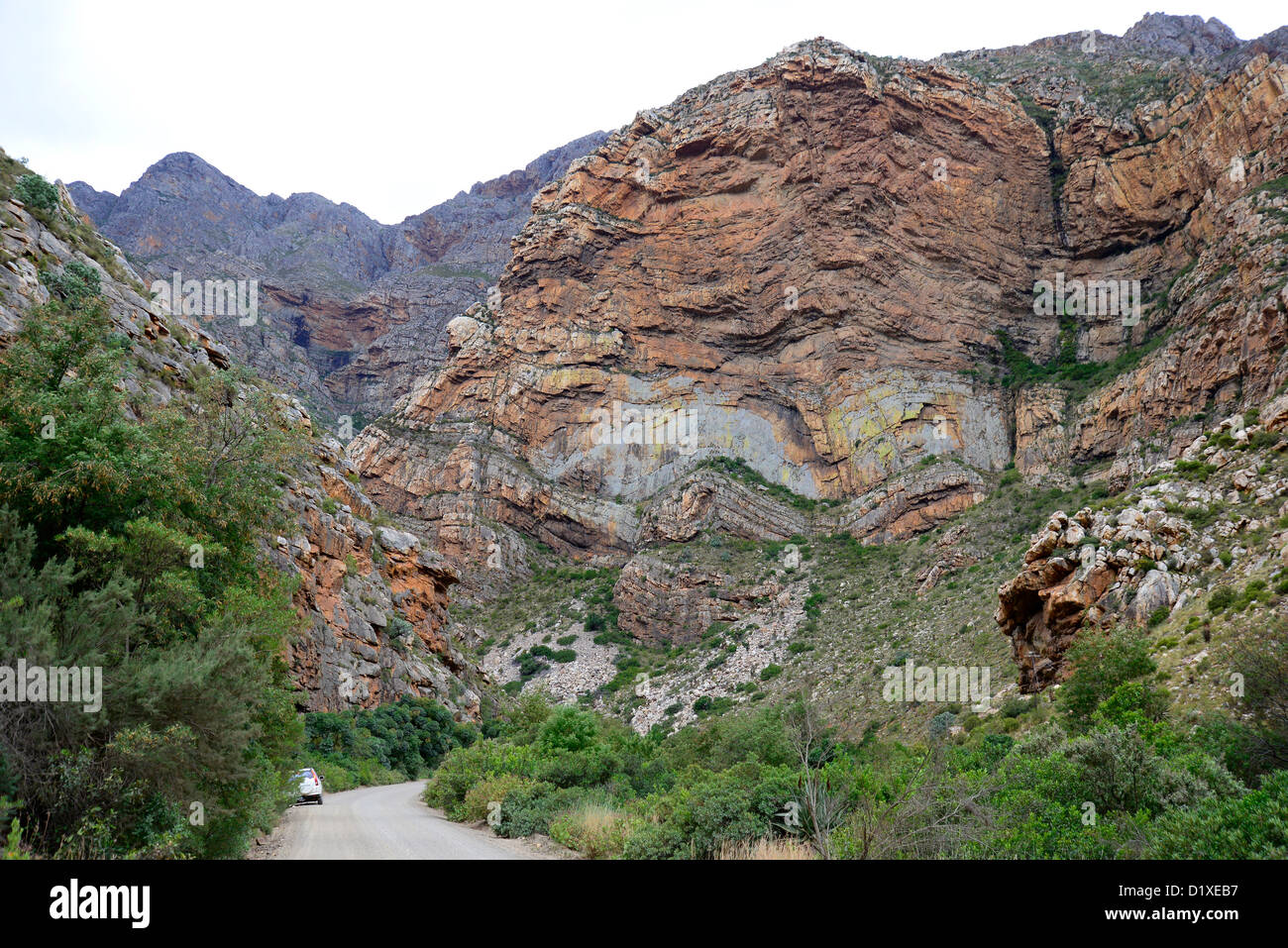 Cape fold mountains in Seweweekspoort, Western Cape, South Africa - Stock Image