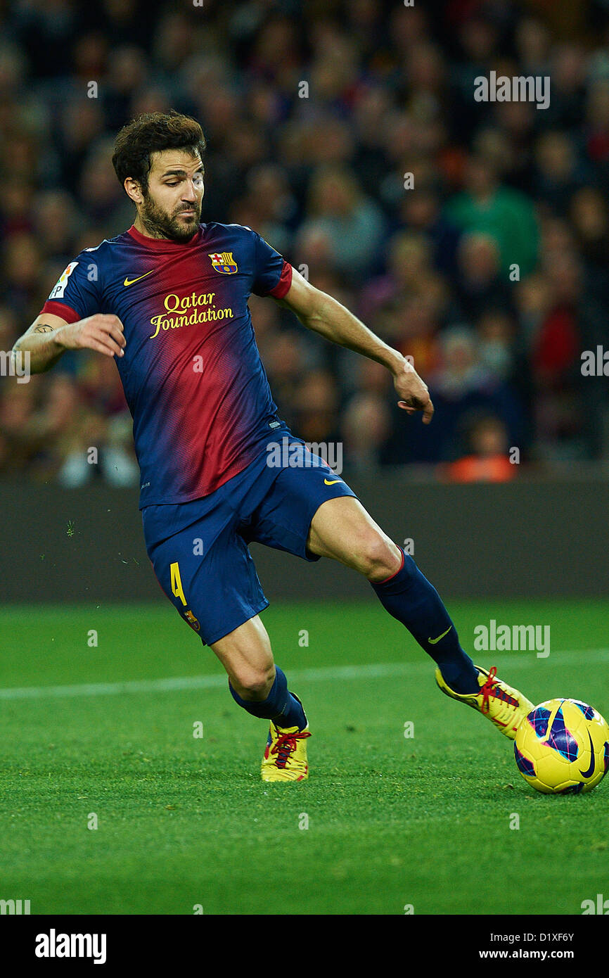 Cesc Fabregas (FC Barcelona), during La Liga soccer match between FC Barcelona and RCD Espanyol, at the Camp Nou - Stock Image