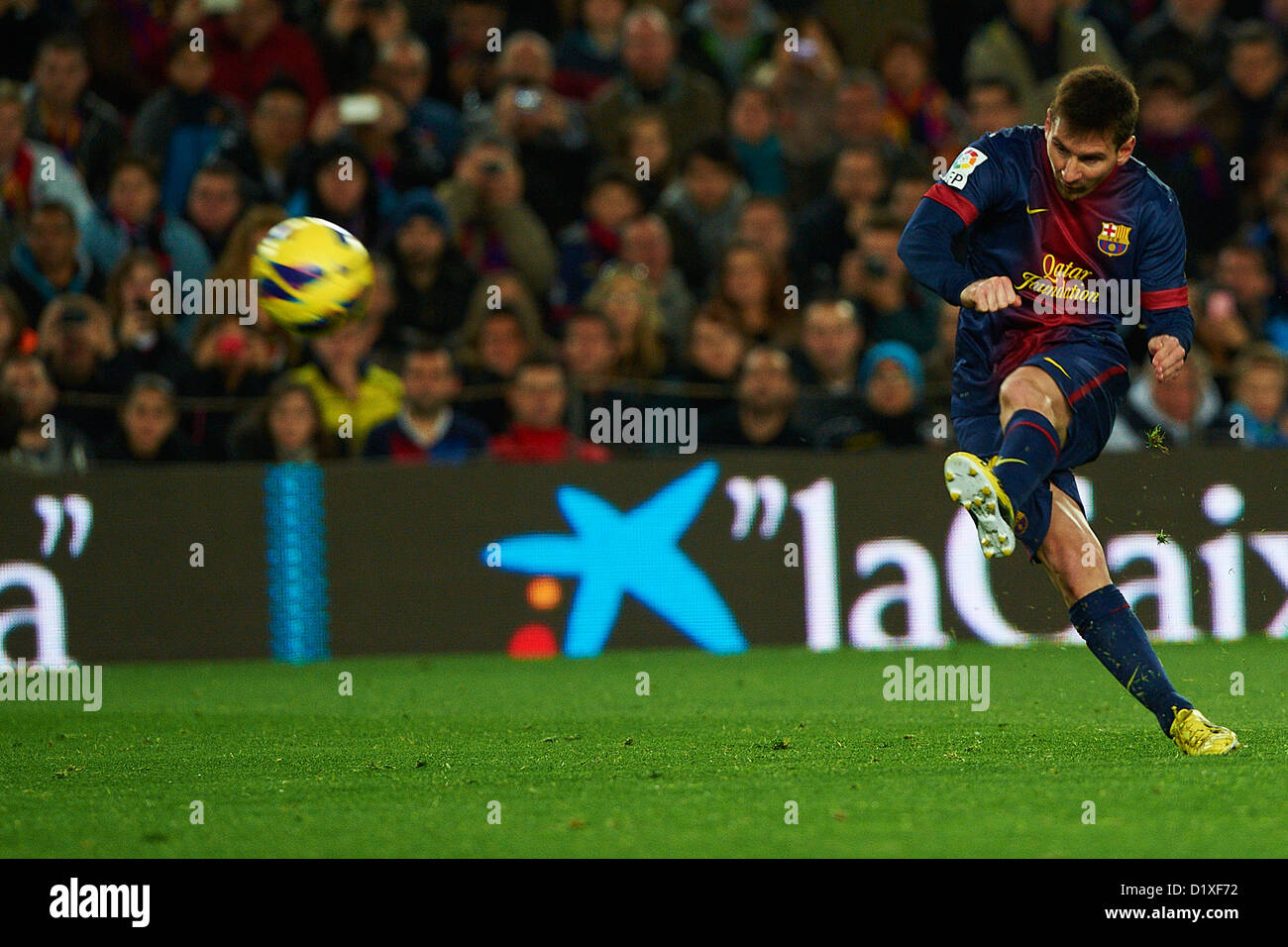 Lionel Messi (FC Barcelona), during La Liga soccer match between FC Barcelona and RCD Espanyol, at the Camp Nou - Stock Image