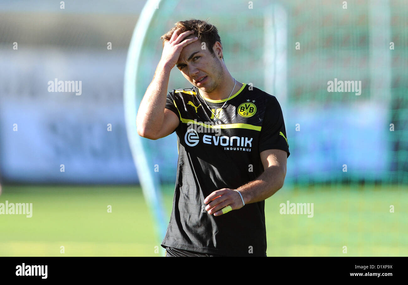 Borussia Dortmund's Mario Goetze grabs his head during the team's winter training camp in La Manga, Spain, - Stock Image