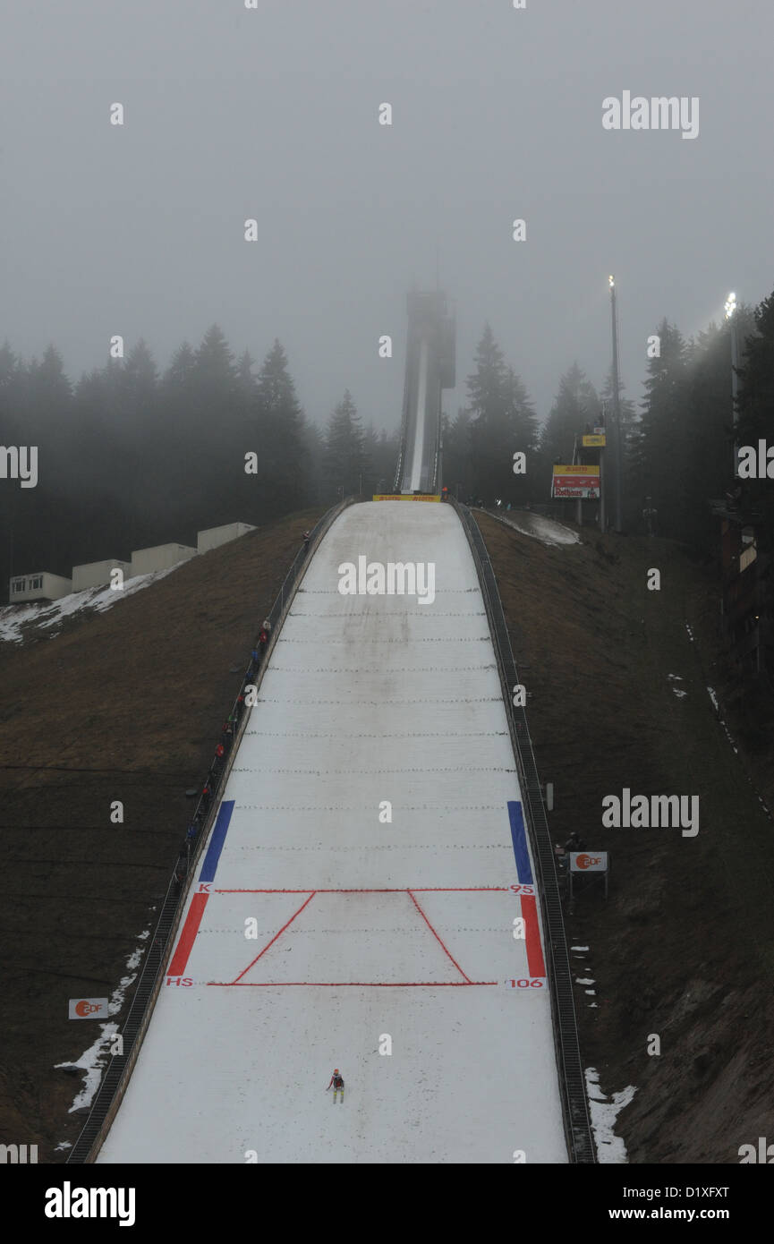 German ski jumper Svenja Wuerth performs at in the second round from the Langenwaldschanze of the Women ski-jumping - Stock Image