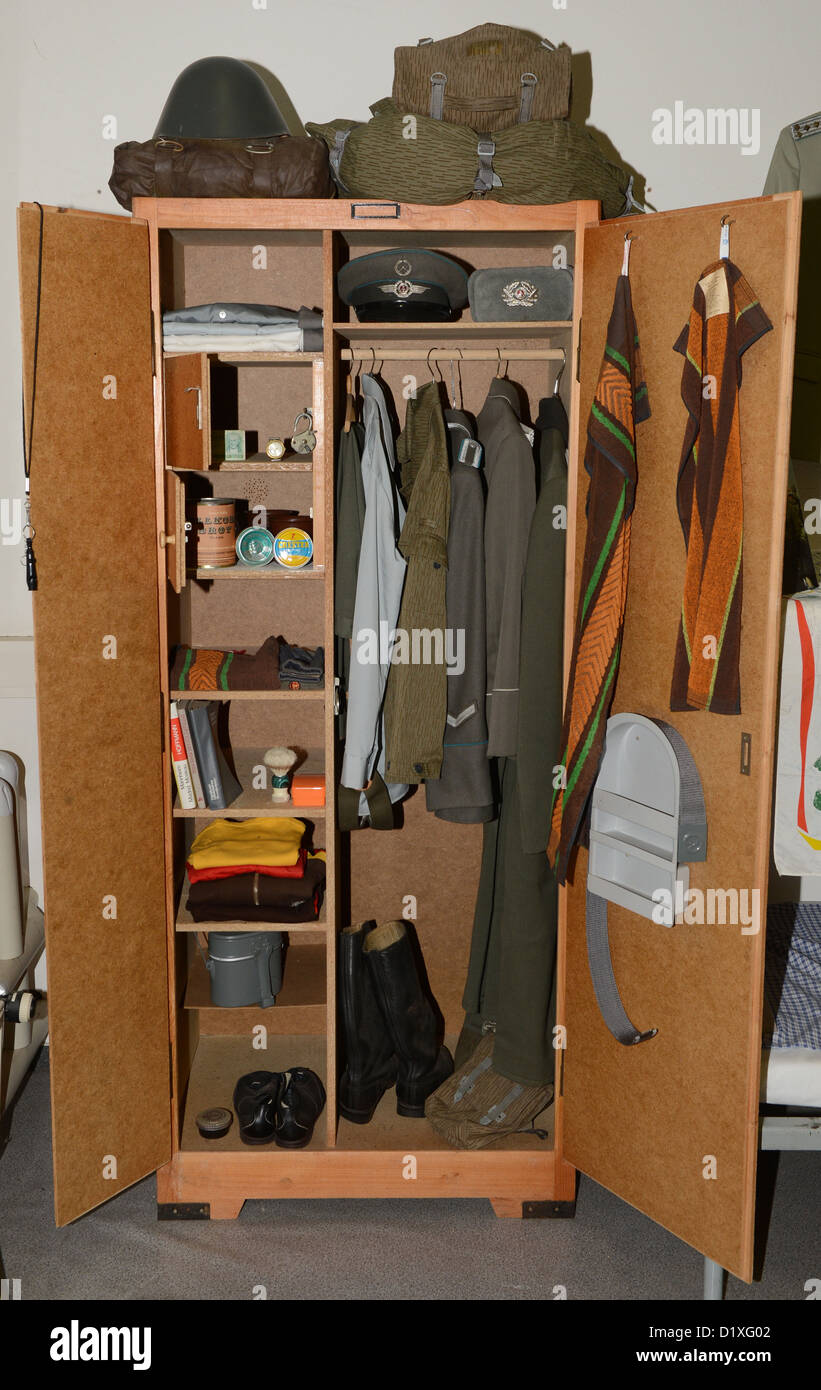 A locker of the NVA(National People's Army) is pictured at the GDR Museum in Pirna, Germany, 18 December - Stock Image