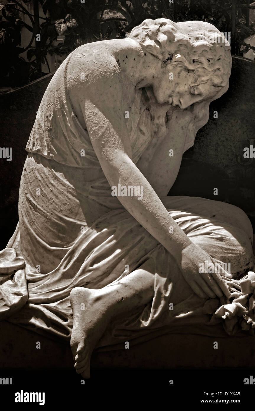 A sculpture in the cemetery on on Castle Hill, Nice, France - Stock Image