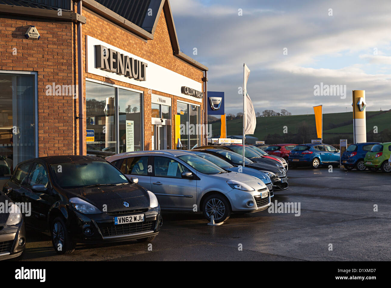 Cars on sale on forecourt of Renault garage, Hereford, England, UK ...