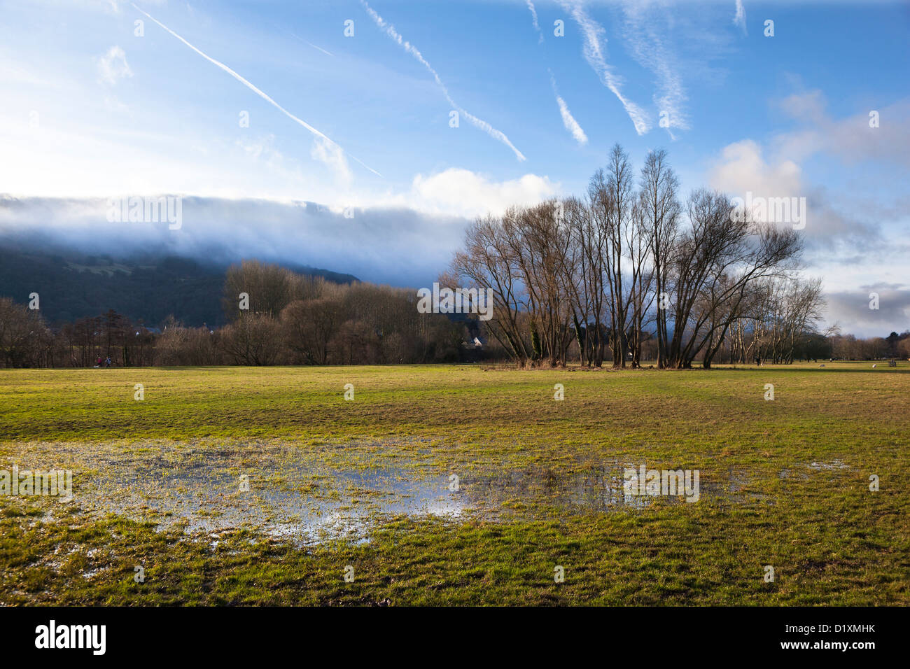 Waterlogged field on Castle Meadows, Abergavenny, Wales, UK - Stock Image