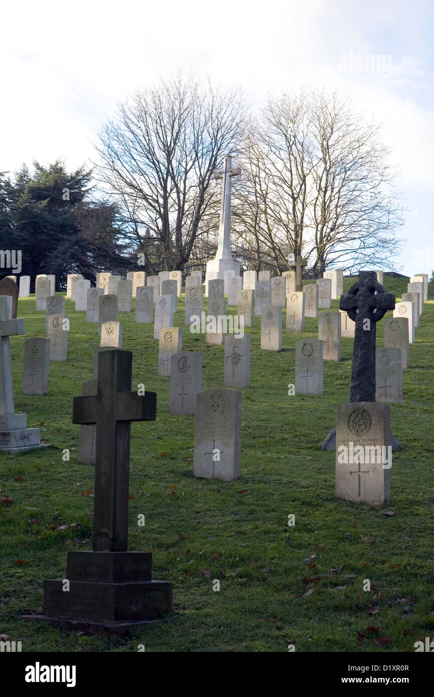 The graves and surroundings at Farnborough military cemetery in Hampshire. Stock Photo