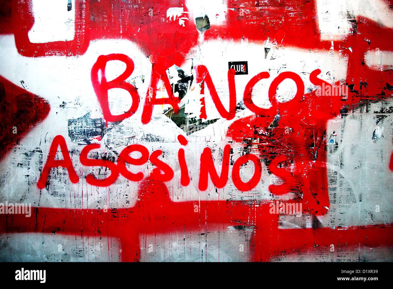 Anti capitalist graffiti, Barcelona, Spain - Stock Image
