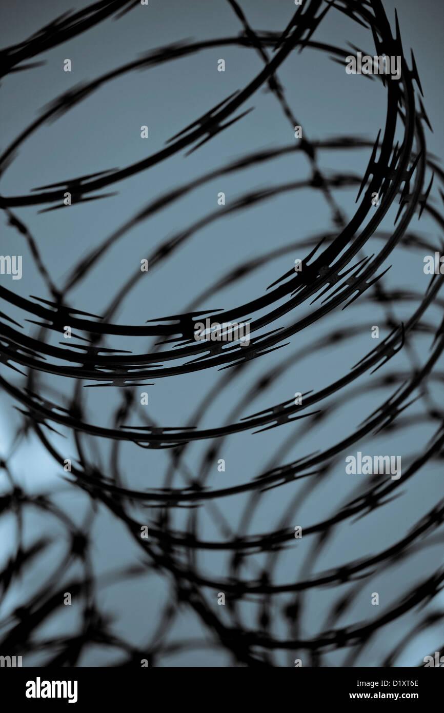Razor Wire Fence Sharp Deterrent Stock Photos & Razor Wire Fence ...
