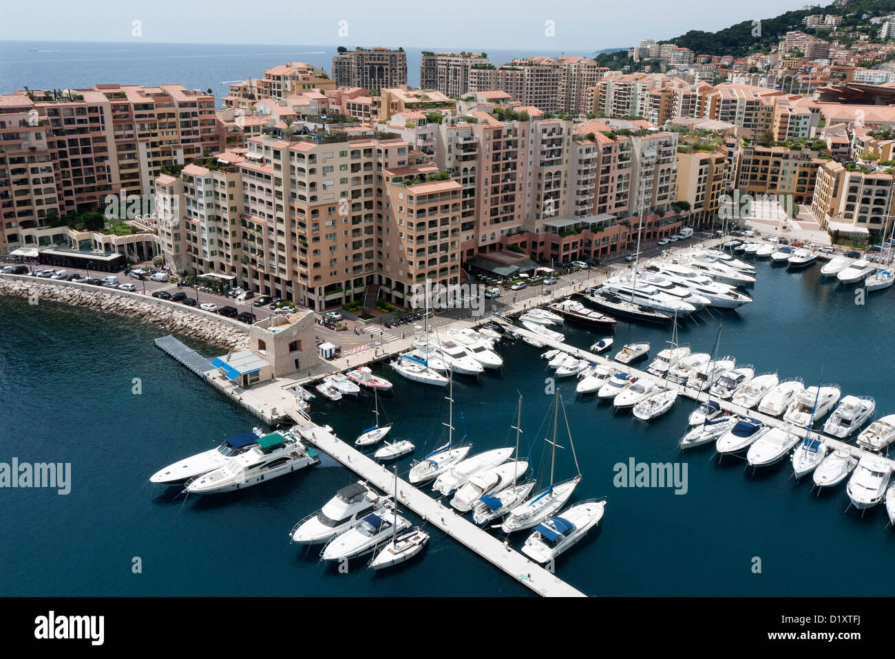 Fontvieille Harbour in the principality of Monaco on the Côte d'Azur - Stock Image