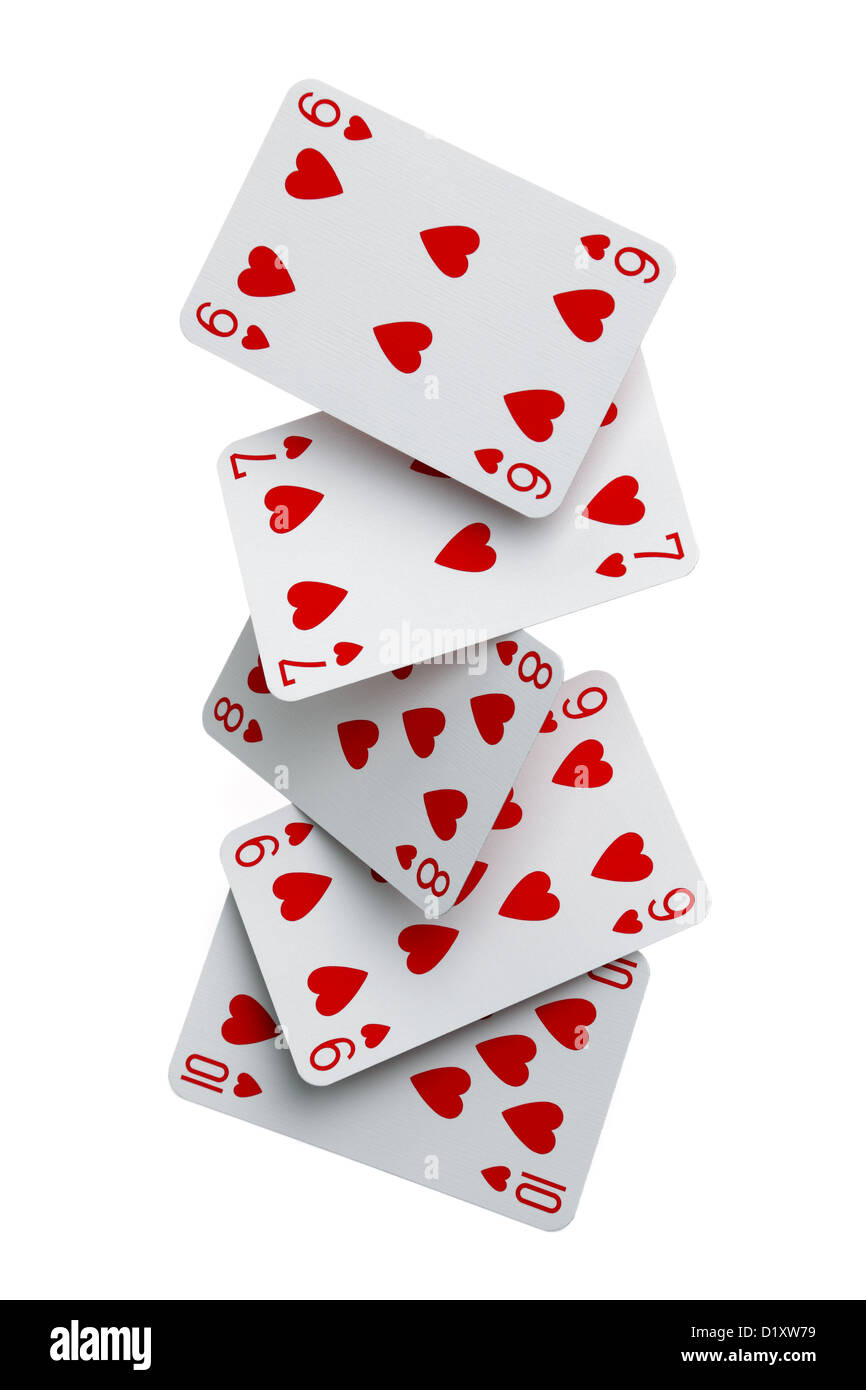 Straight flush cards falling - Stock Image