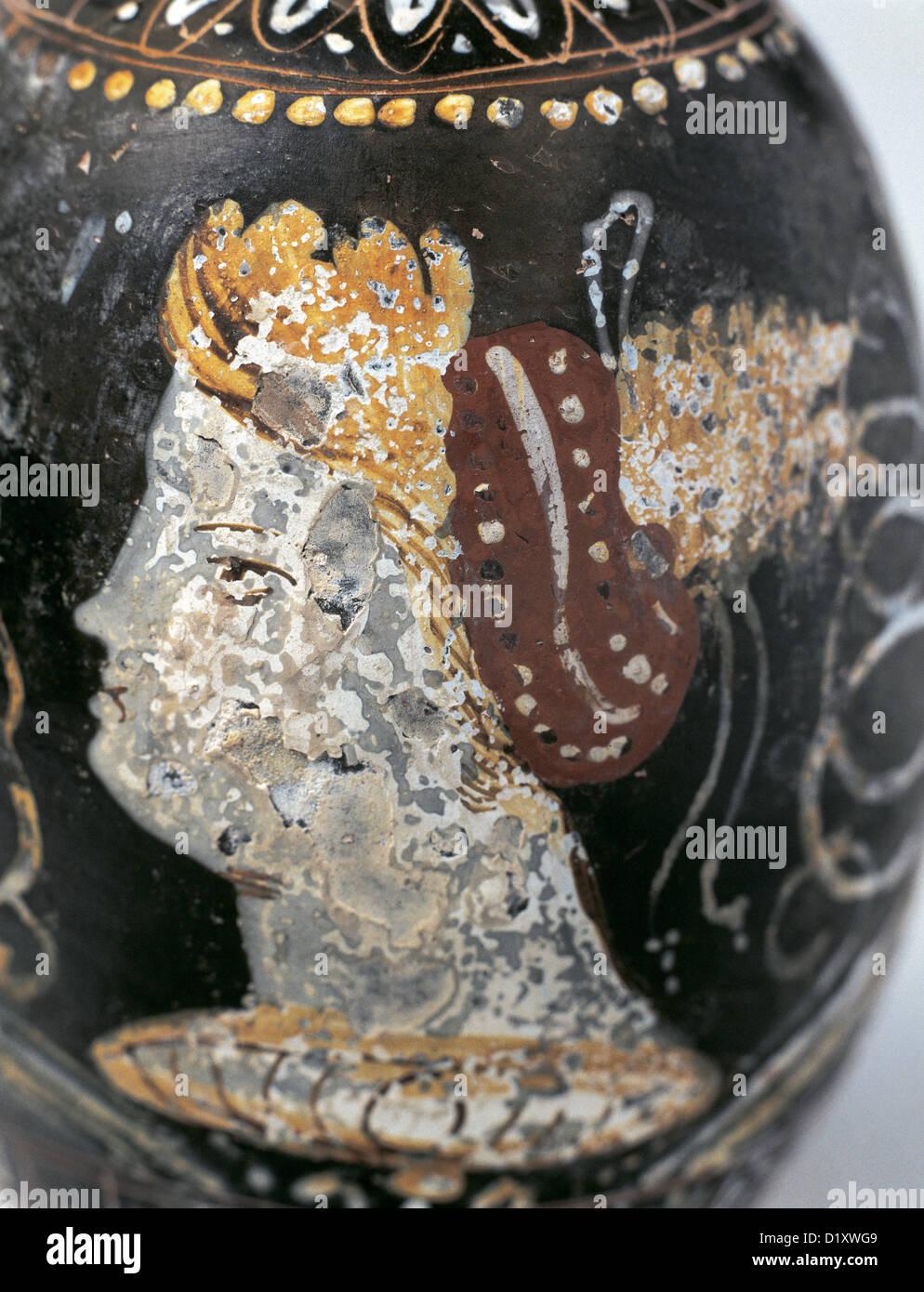 Art Greek. Magna Graecia. Greek vase painting. Red figure pottery. Lekythus. Egnatia, Italy. Museum of Perfume. - Stock Image