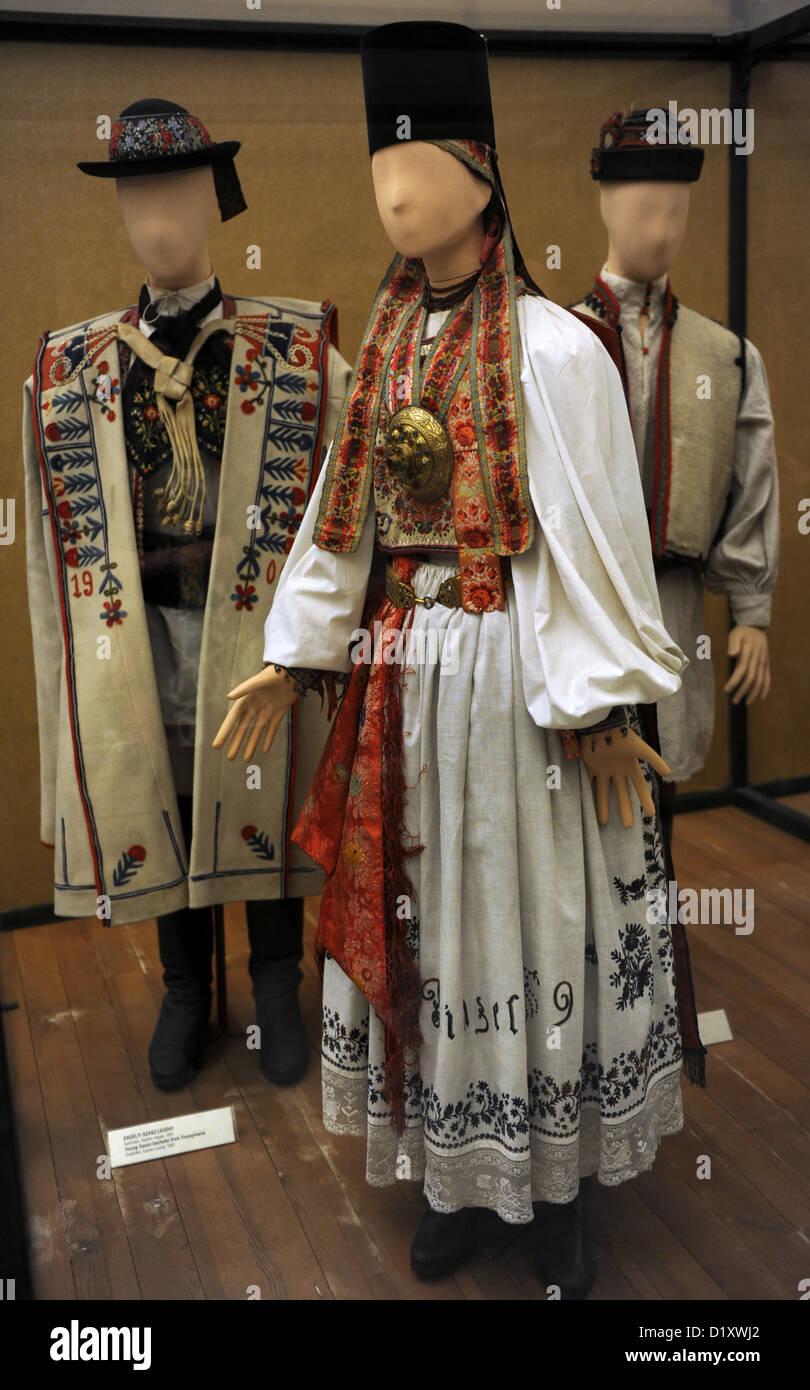 Traditional dress of a saxon girl. 1892. From Transylvania. Szelindek, Szeben county. Ethnographic Museum. Budapest. - Stock Image