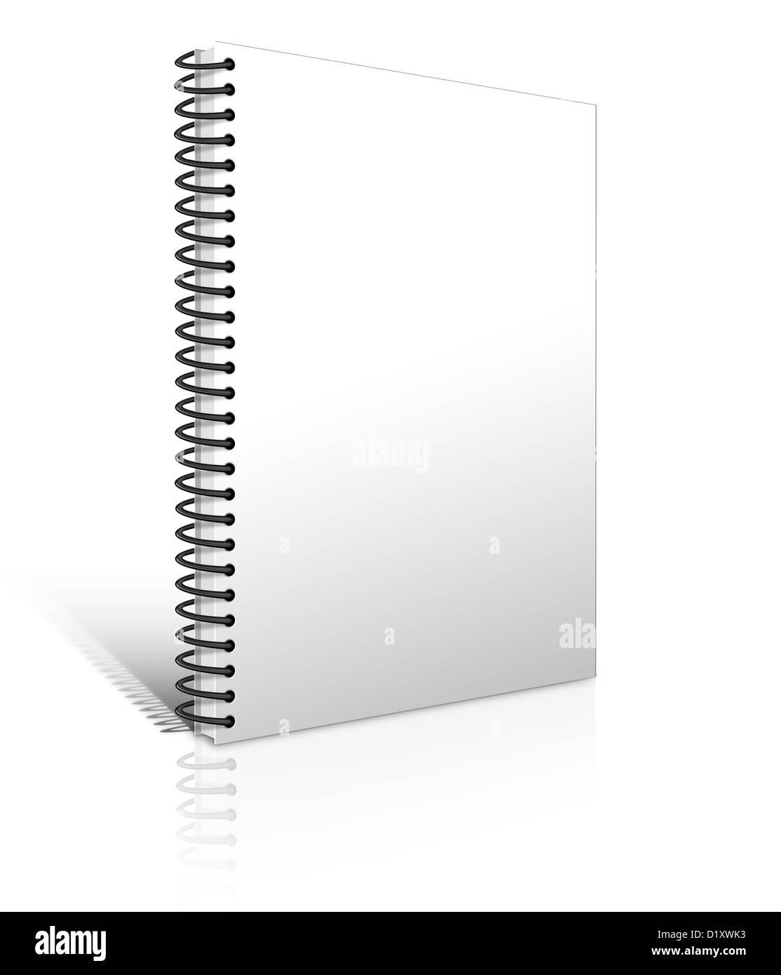white notebook blank isolated on white background - Stock Image