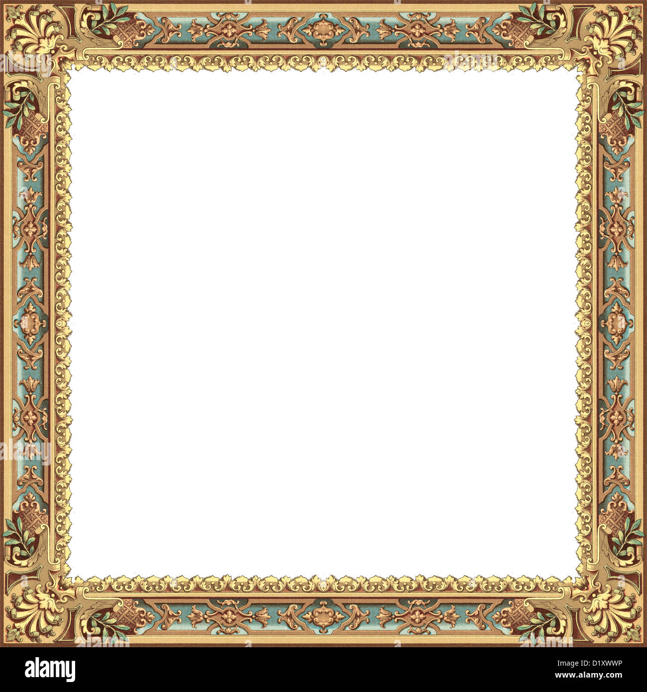 ancient frame with gold and blue models isolated on white background ...