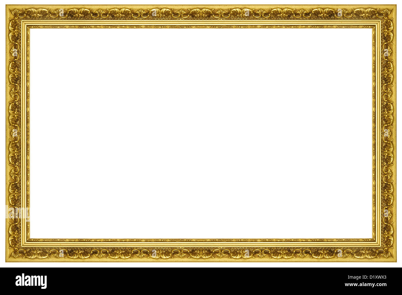 Antique Gold Frame Pattern Isolated On White Background Stock Photo
