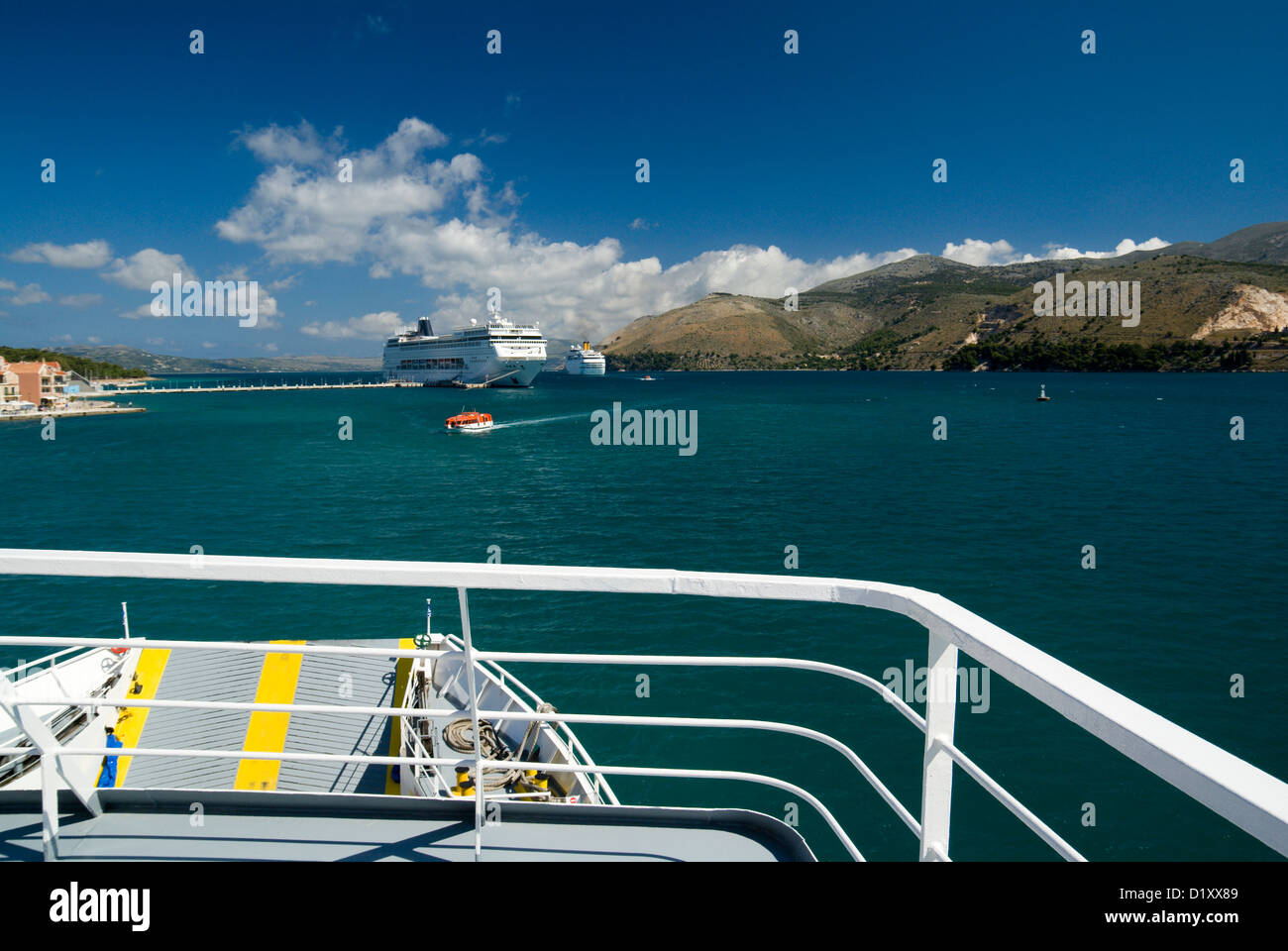 Cruise ship MSC Armonia moored in Argostoli Bay, taken from the lixouri ferry Arostoli, Kefalonia, Ionian Islands, - Stock Image