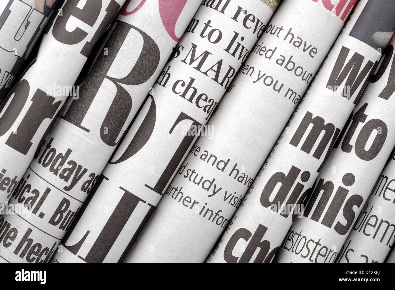 Newspaper headlines - Stock Image