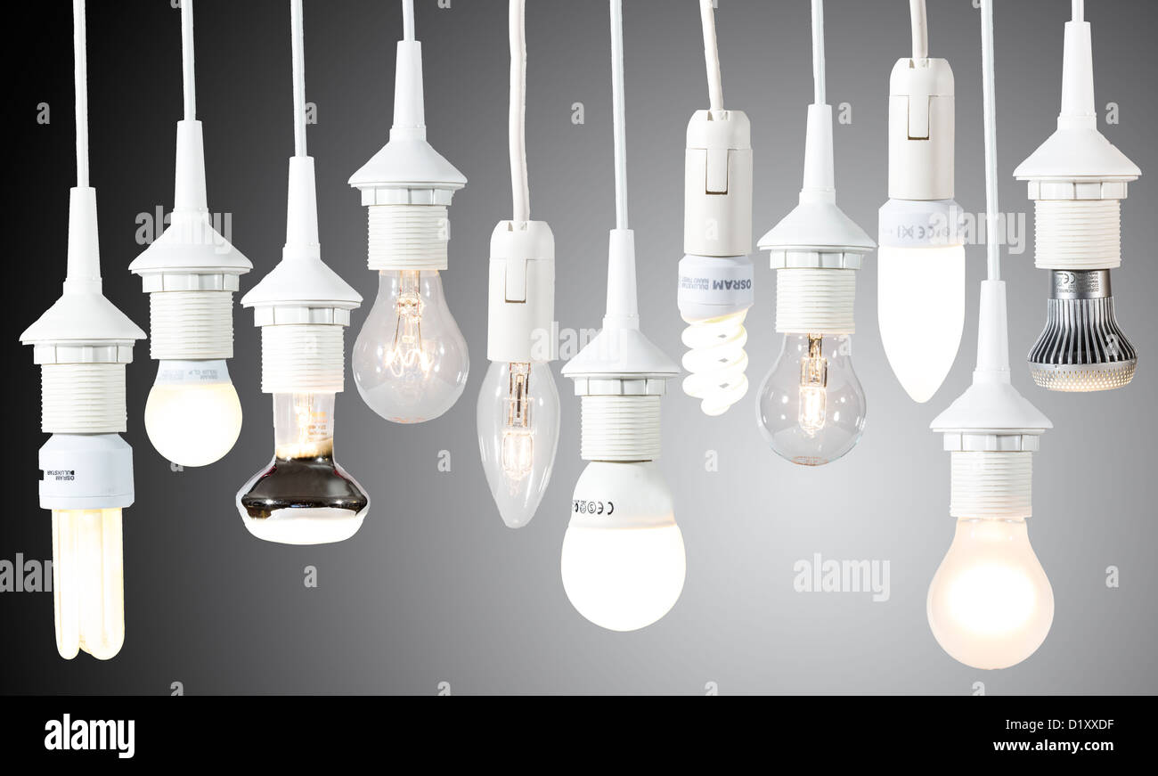 Different light bulbs, energy saving lamps. Electric light Stock ...
