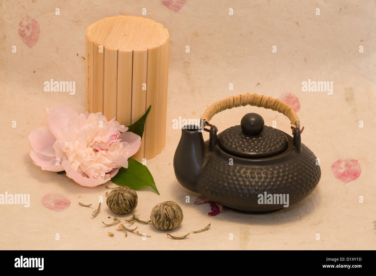 Black teapot with lotus flower chinese tea and flower of peony stock black teapot with lotus flower chinese tea and flower of peony izmirmasajfo