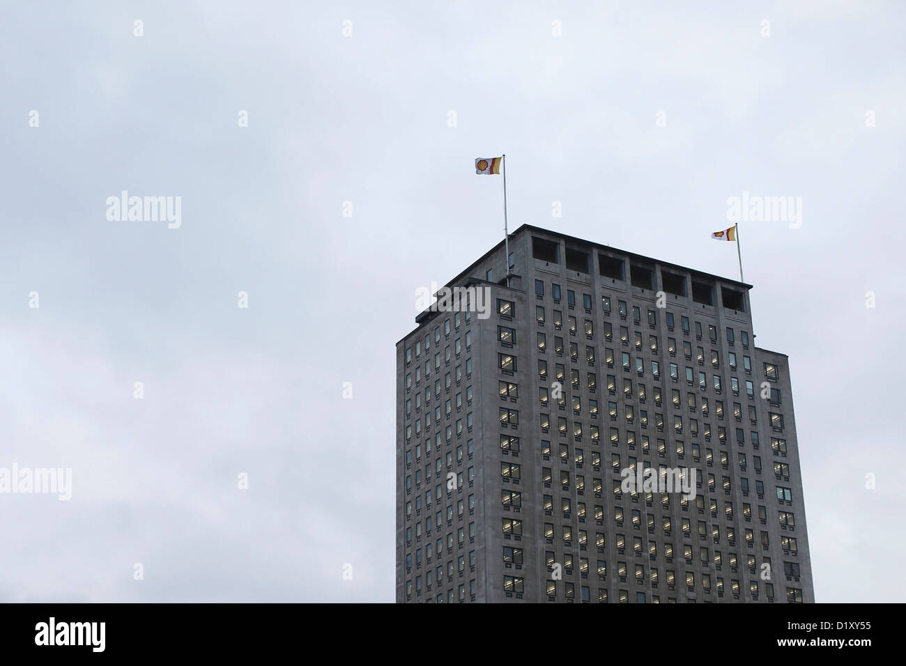 UNITED KINGDOM, LONDON : The Shell Centre located over looking the South Bank of the River Thames is pictured on - Stock Image