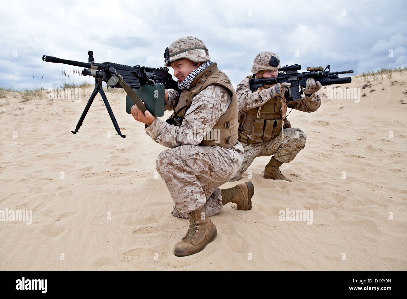 US marines in action - Stock Image
