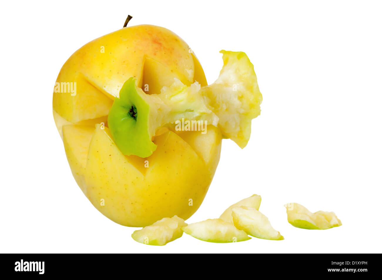 Yellow apple ingest green apple, acquisition concept - Stock Image