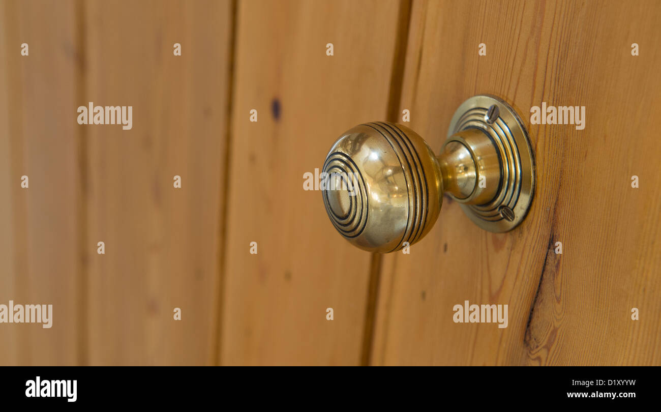 Beautifully Polished Brass Door Knob On A New Door In A Newly Built  Property.