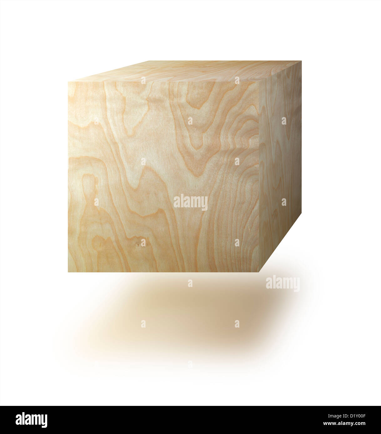 Cube made from wood against a white background - Stock Image