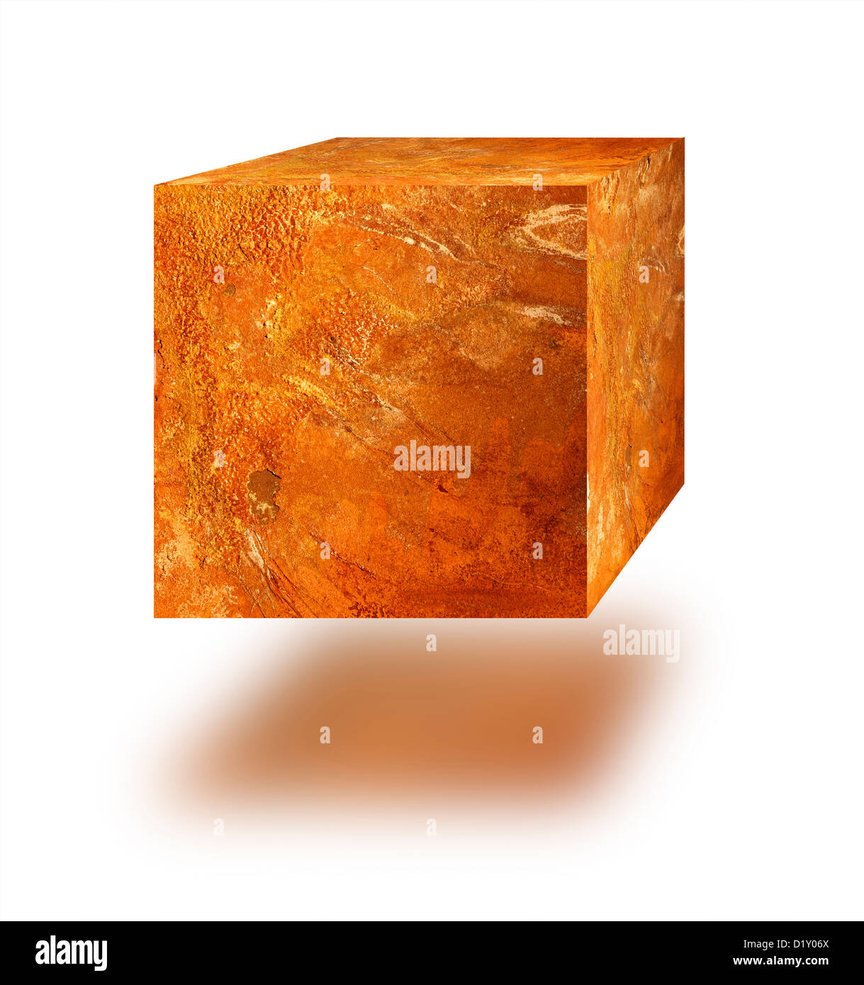 Cube of rust against white background - Stock Image
