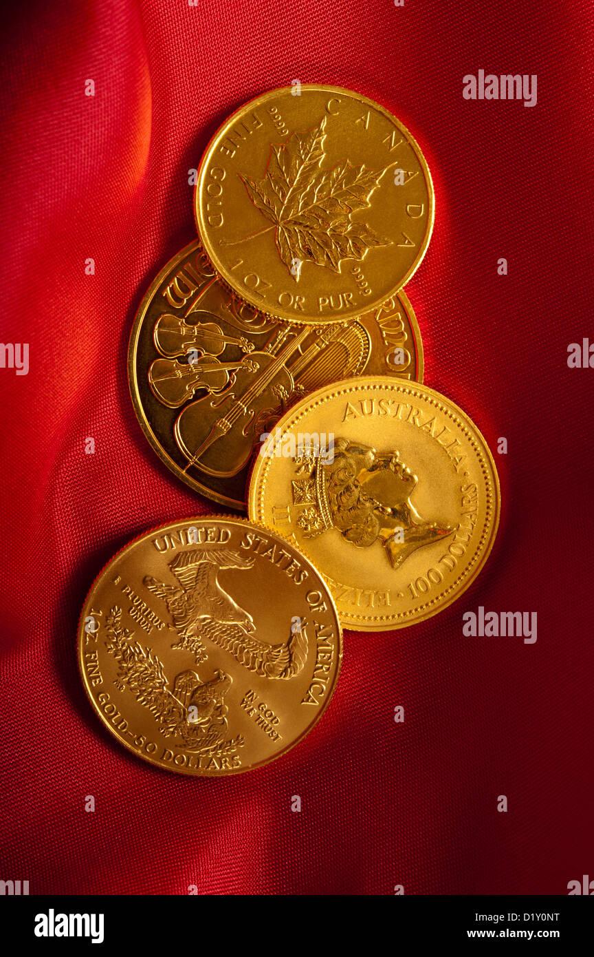 gold bullion coins - Stock Image