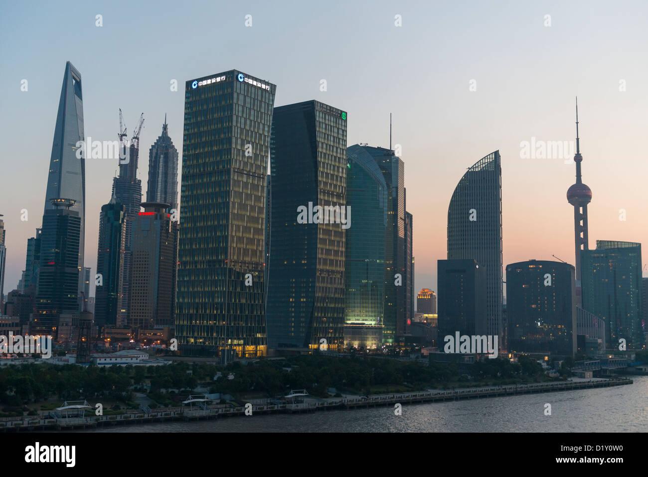 Pudong Skyline at Night, Shanghai, China - Stock Image