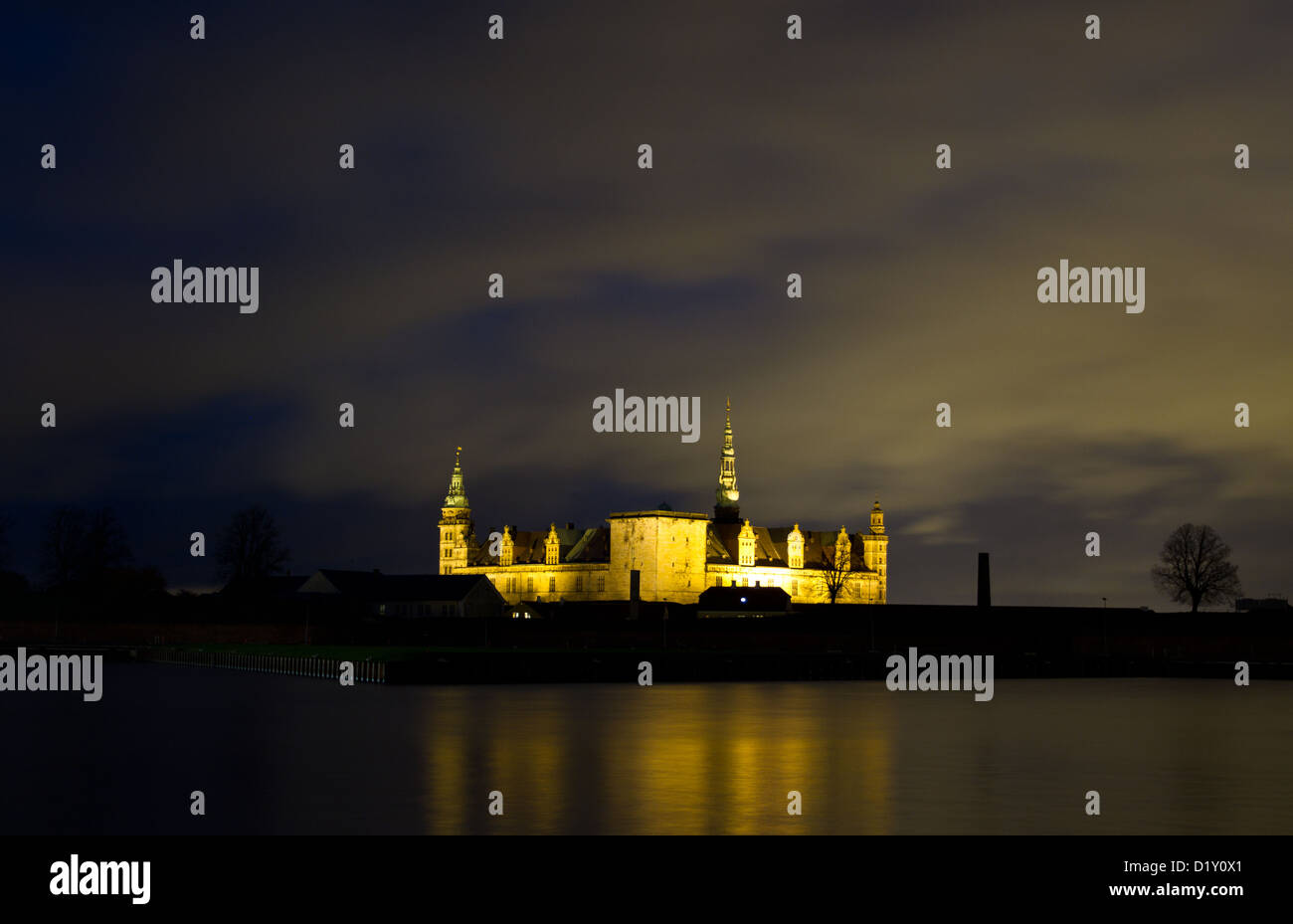 Elsinore Kronborg castle by night. Kronborg is the place of Tragedy of Hamlet, Prince of Denmark  of William Shakespeare - Stock Image