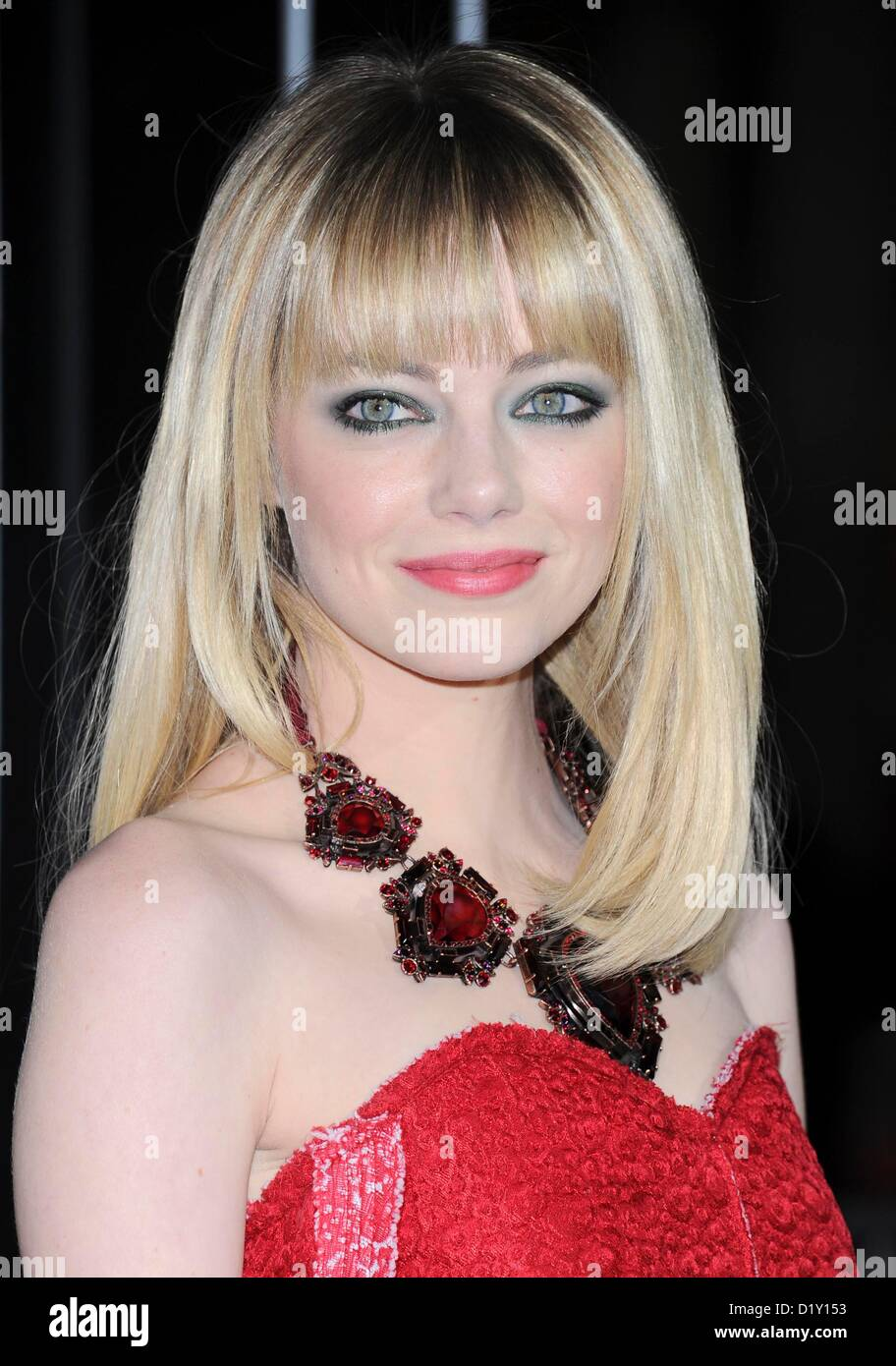 Actress Emma Stone arrives at the film premiere for 'Gangster Squad' at the Chinese Theatre in Hollywood, - Stock Image