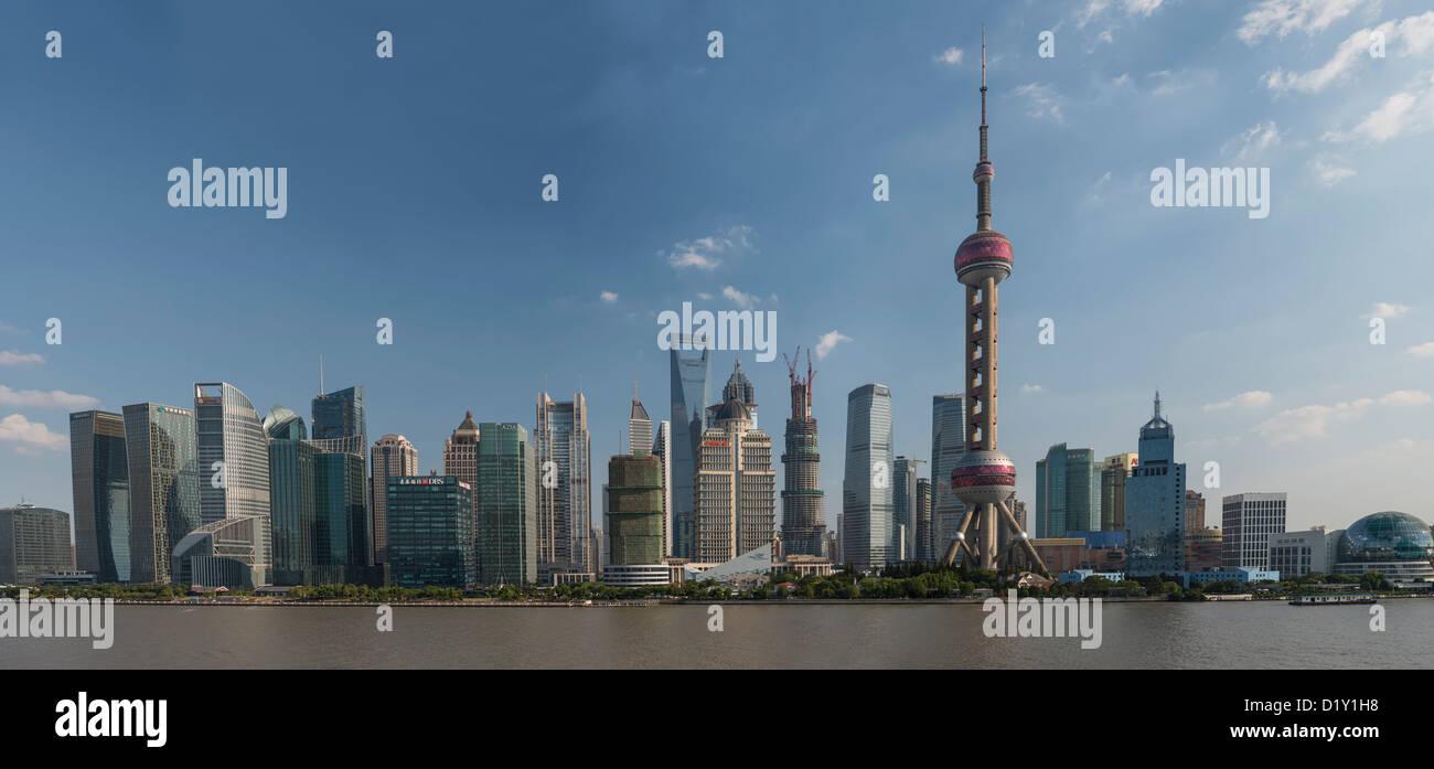 Panorama of Pudong Skyline from the Bund, Shanghai, China - Stock Image