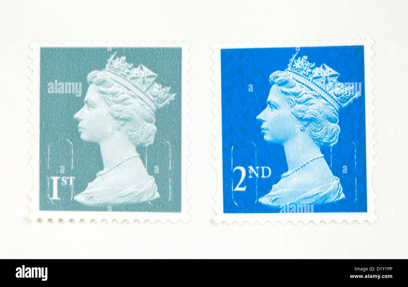 UK first class and second class postage stamps, new 2013